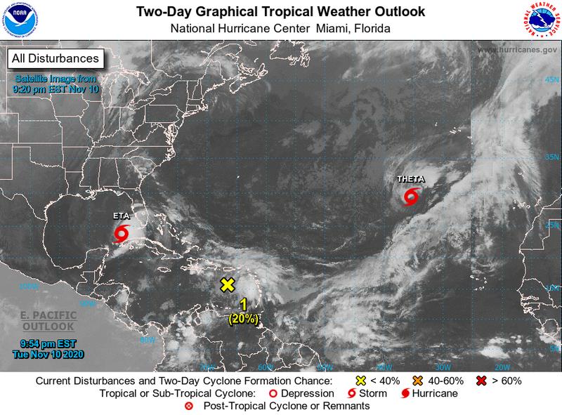 「塞塔」為本年度大西洋第29個風暴,打破2005年的28個風暴生成紀錄,現仍有其他擾動發展,風暴數量可能持續攀升。(圖擷自NOAA)