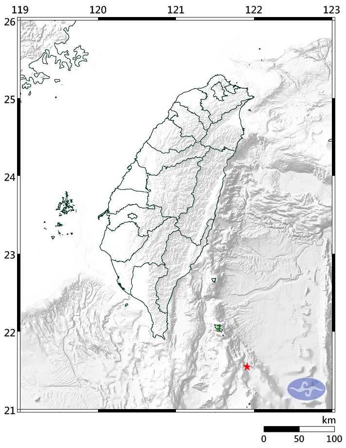 台東近海清晨5點35分發生規模5.0地震,最大震度3級。(擷取自氣象局)