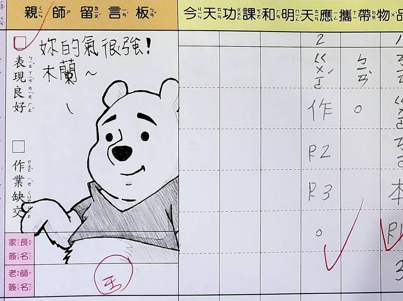 超強家長「林爸爸」每天在聯絡簿畫上不一樣的插畫當作簽名。(粉專林爸爸簽聯絡簿啦 授權)