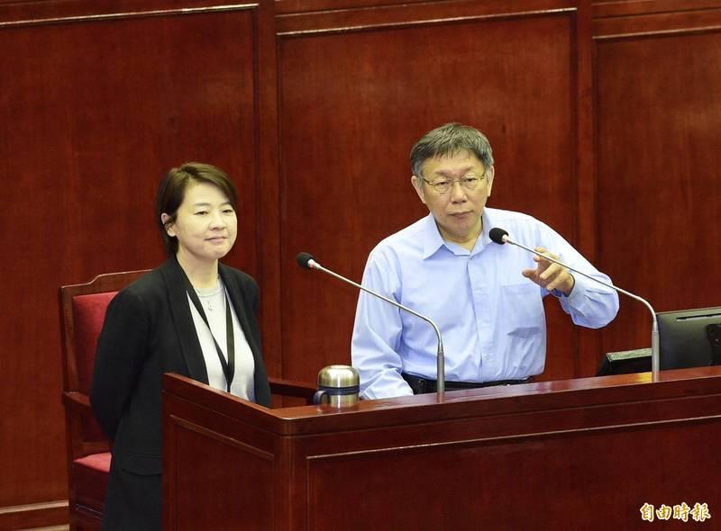 台北市議會12日進行市政總質詢,市長柯文哲、副市長黃珊珊等人赴議會備詢。(記者羅沛德攝)