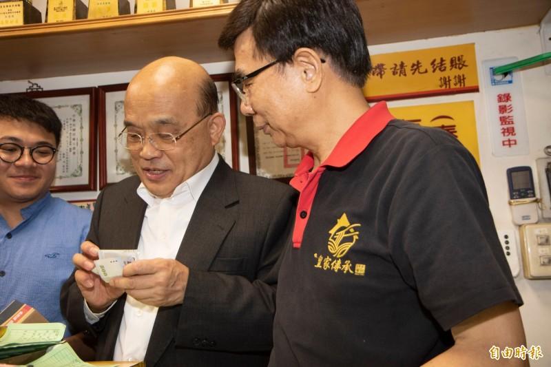 蘇貞昌前往皇家傳承牛肉麵用餐,堅持必須付款。(記者周湘芸攝)
