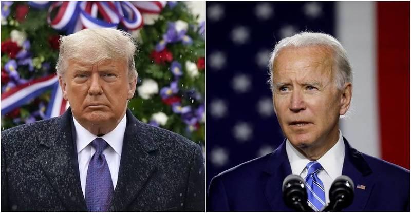 美國總統川普(左)不承認拜登(右)自行宣布當選,目前正展開法律戰。(左圖法新社,右圖路透)