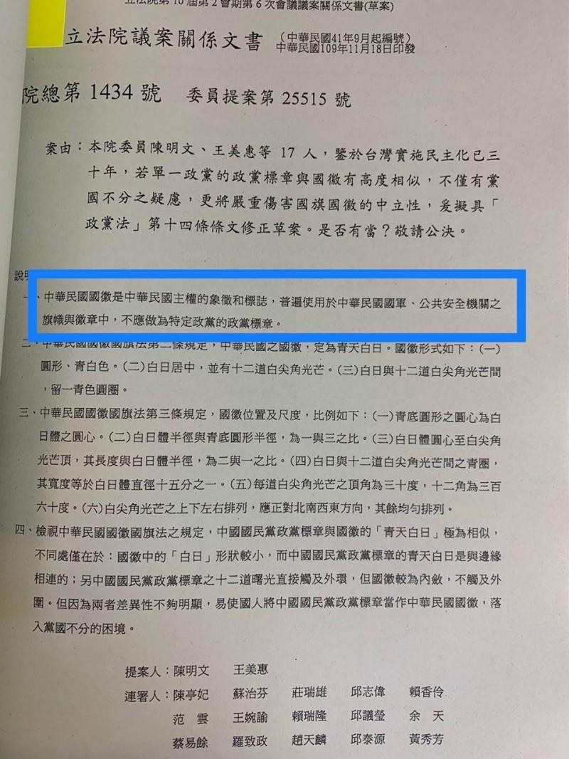 陳明文、王美惠提案主張,國徽不應做為特定政黨的標章,有黨國不分的疑慮。(陳以信提供)