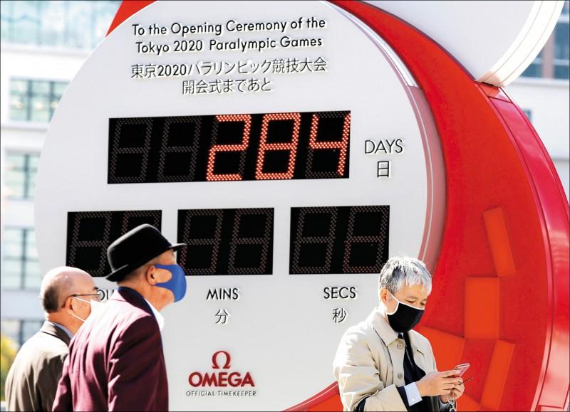日本12日通報新增1660例確診,單日新增確診數創新高。圖為東京民眾戴著口罩走過東奧倒數計時的時鐘。(路透)