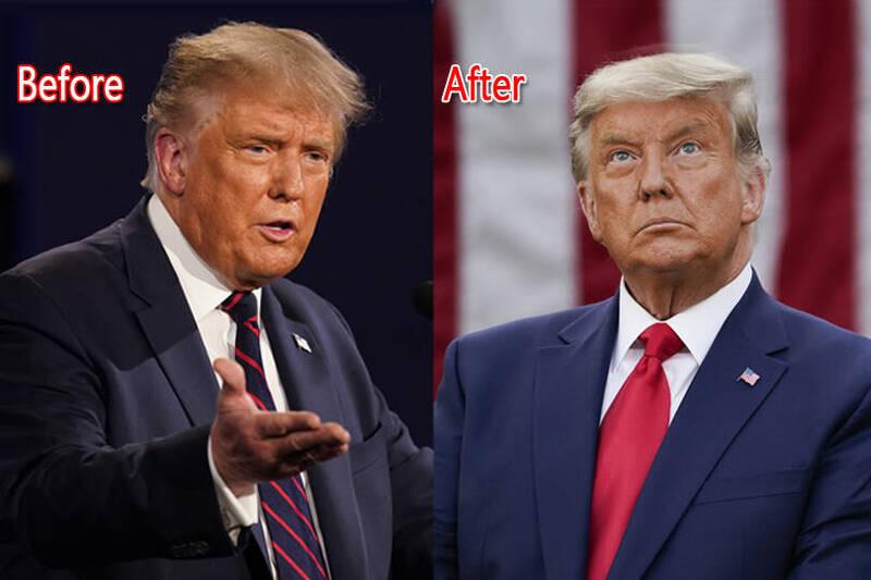 川普在美媒報導拜登勝選後,第一次公開露面發表談話。不過,網友卻將焦點放在川普的頭髮顏色上,表示川普過去招牌金髮已完全不見蹤影,被灰色取代。(本報合成)