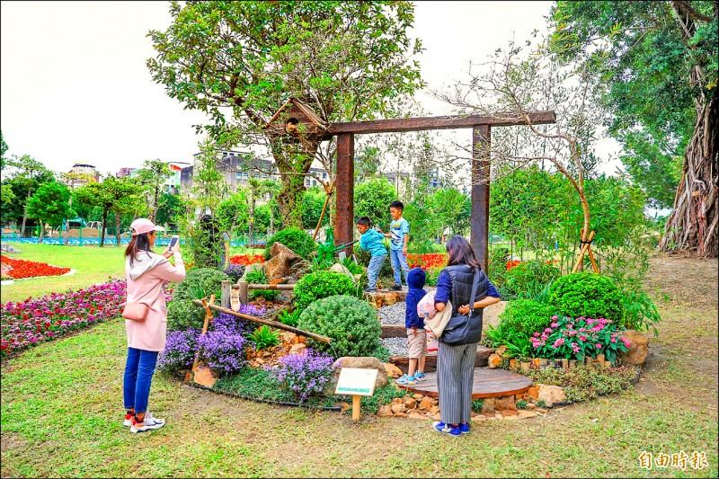 「全國青年景觀競賽」施作設計競賽組第二名,為沐川景觀有限公司的「追竹」。(記者陳心瑜攝)