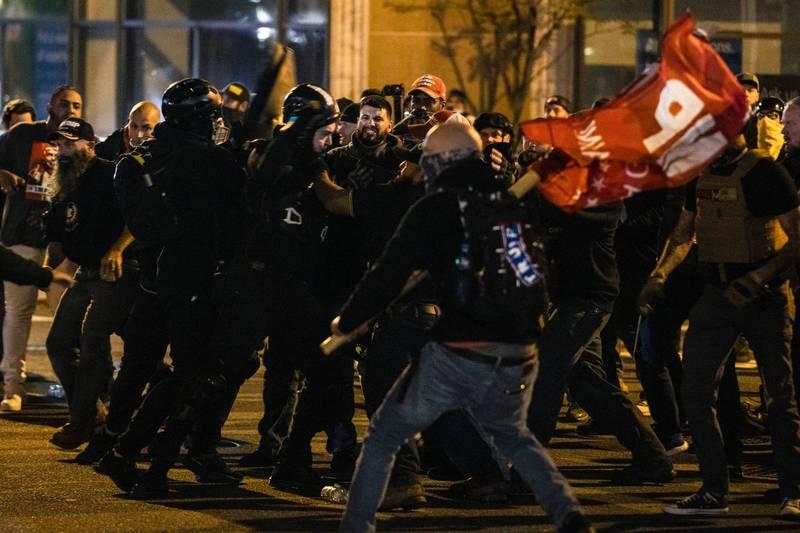 挺川遊行傳多起暴力衝突,川普子女怒批主流媒體對於針對川普支持者的暴力事件視而不見。(法新社)