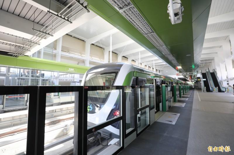 中捷綠線昨天開始試營運通車1個月。(記者蔡淑媛攝)