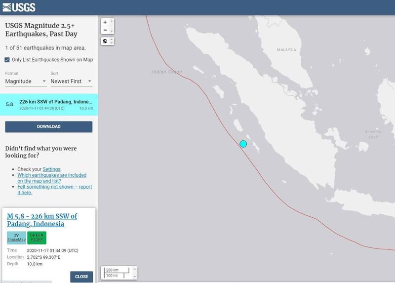 印尼蘇門答臘省巴塘市南南西方226公里海域發生芮氏規模5.8地震。(擷取自USGS)