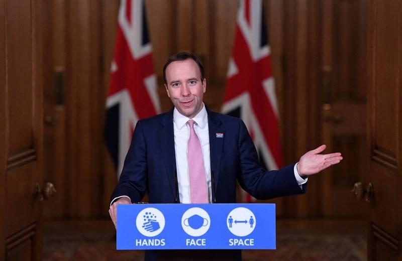 英國衛生大臣韓考克(Matt Hancock)宣布,政府已下訂500萬劑莫德納疫苗。(法新社)
