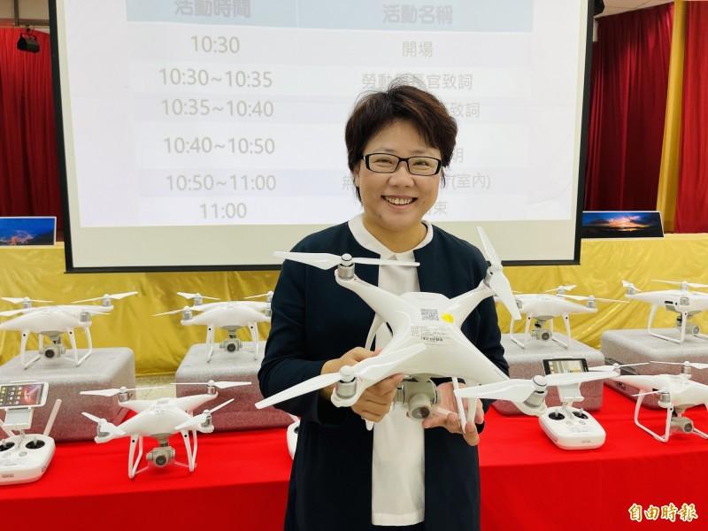 台北市職能發展學院今天辦理無人機攝影應用課程招生說明會。(記者蔡思培攝)