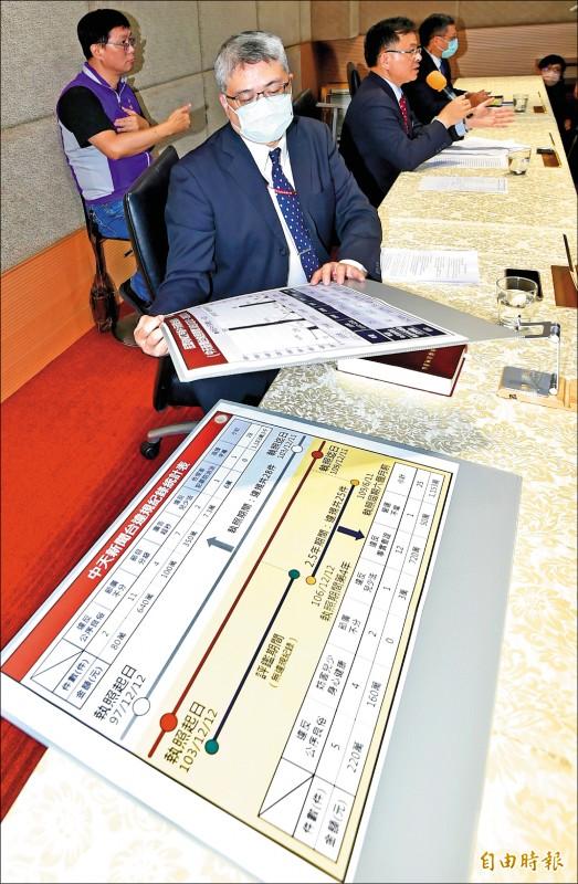 國家通訊傳播委員會(NCC)昨日召開記者會,宣布7比0否決中天新聞台換照。(記者塗建榮攝)