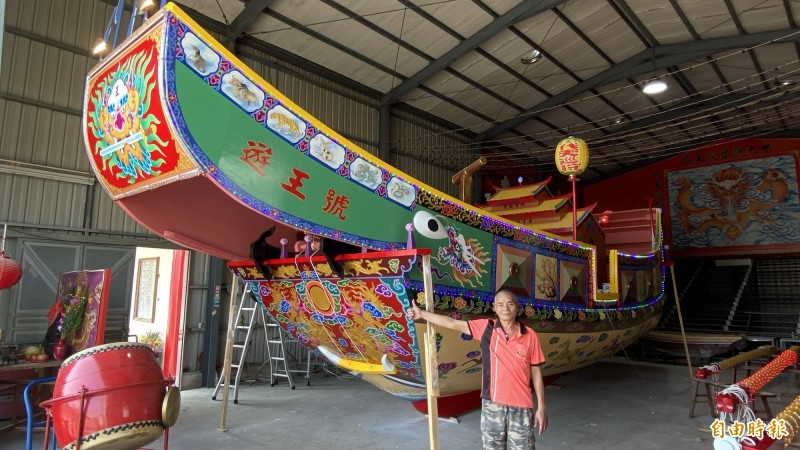 柳營代天院庚子科王船已建造完成,歷年最大艘,將在23日王船開光出廠。(記者楊金城攝)