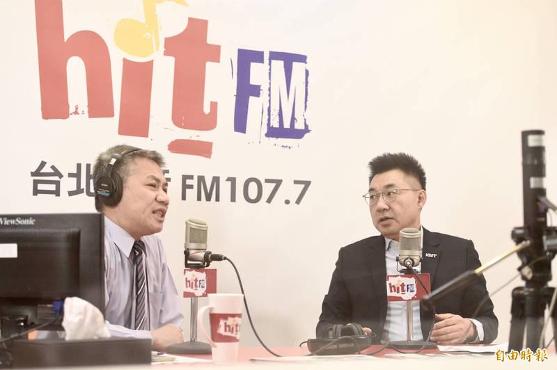 國民黨主席江啟臣今日接受廣播節目專訪。(記者叢昌瑾攝)