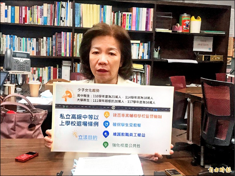 教育部技職司司長楊玉惠昨證實,教育部列管有退場危機之「預警私校」,高中有30多間,大學有10多間。(記者林曉雲攝)