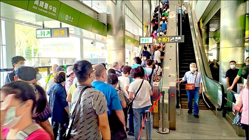 中捷綠線高鐵台中站,4天運量逾5萬。(中捷公司提供)