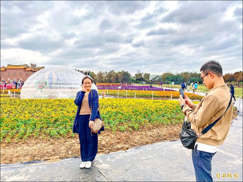 桃園市「花現好時光—綠色生活悠遊節」,吸引遊客駐足拍照留念。(記者魏瑾筠攝)