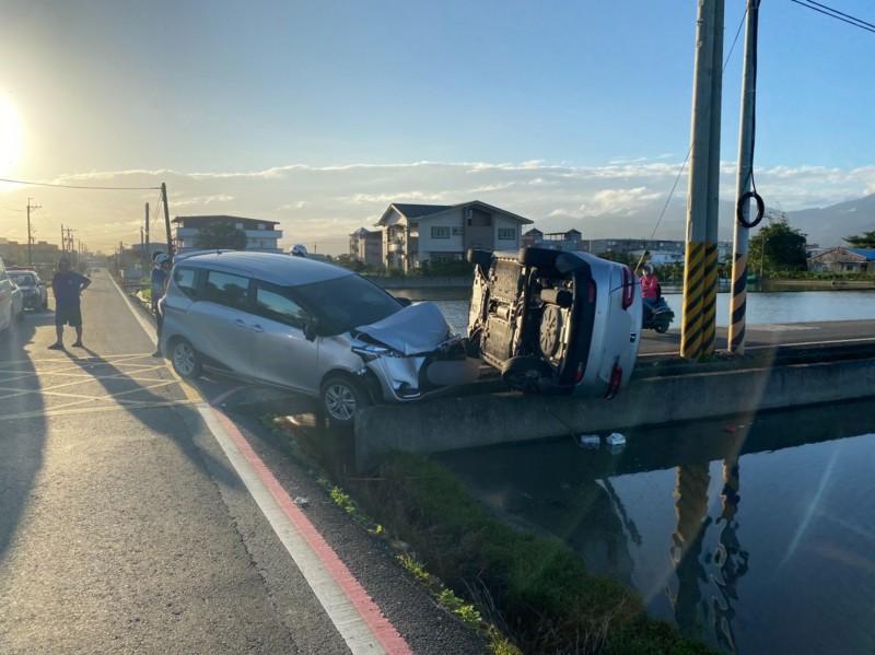 宜蘭市19日下午發生車禍。(記者蔡昀容翻攝)
