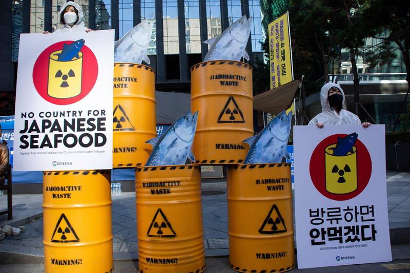 日本政府計畫將百萬噸的福島核污水排入太平洋,引起南韓等東亞周邊國家不滿與抗議。(歐新社)