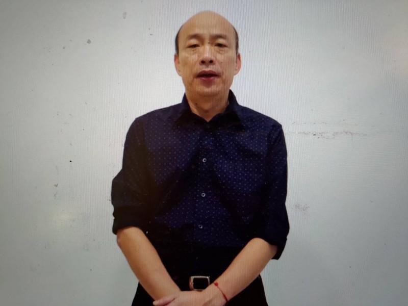 前高雄市長韓國瑜21日深夜「聲」援秋鬥,並解釋不會到現場的理由。(記者王榮祥翻攝)