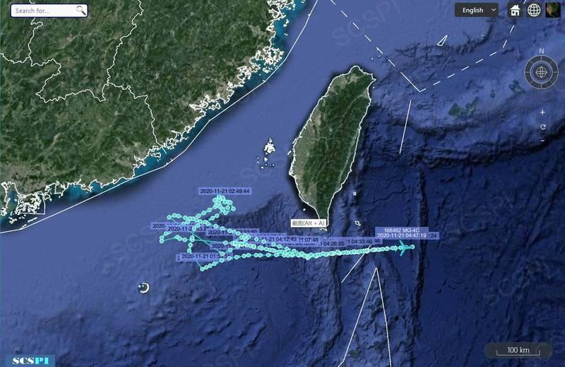 「南海戰略態勢感知計畫」在推特上指出,一架MQ-4C海神偵察機21日半夜12點半至凌晨4點半,持續在台灣西南海域航行巡邏。(圖取自SCSPI)