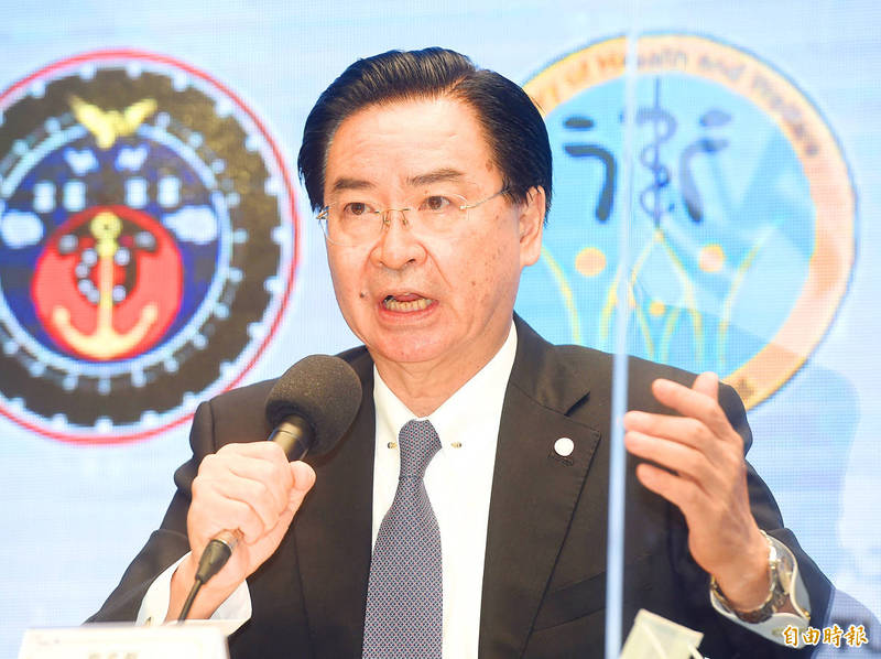 Minister of Foreign Affairs Joseph Wu speaks during a news conference at the Executive Yuan in Taipei yesterday. Photo: Chien Jung-fong, Taipei Times