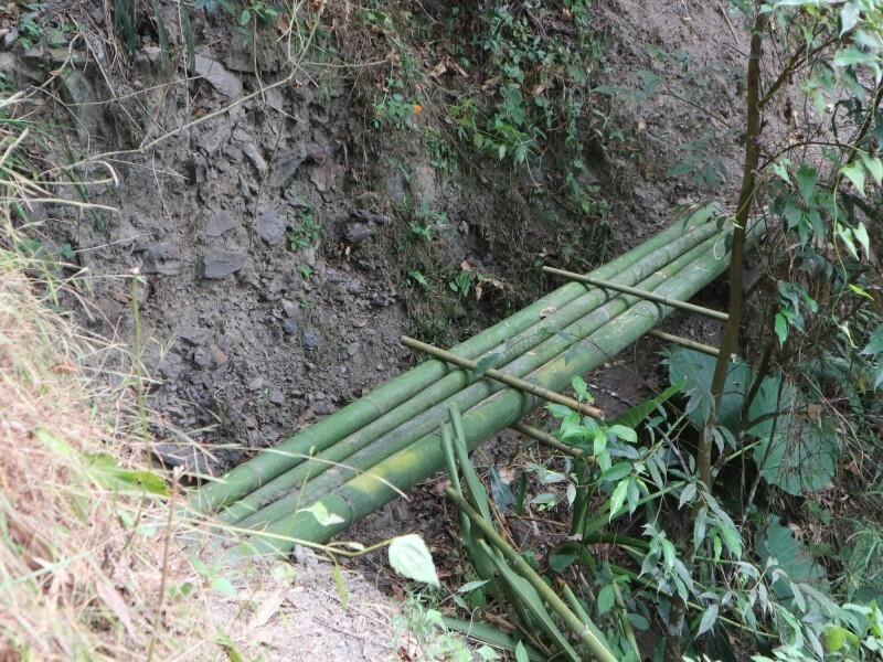 「姻親古道」部分路段已經崩塌,現有竹搭便橋。(潘樵提供)