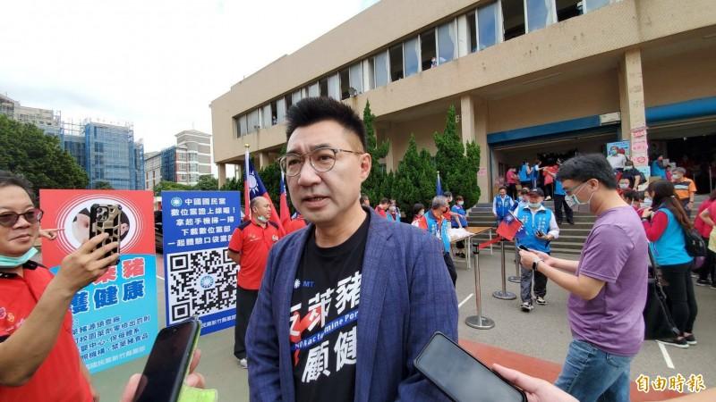 針對前高雄市長韓國瑜不參加秋鬥一事,中國國民黨主席江啟臣受訪說,尊重每一個人自己的想法。(記者蔡孟尚攝)