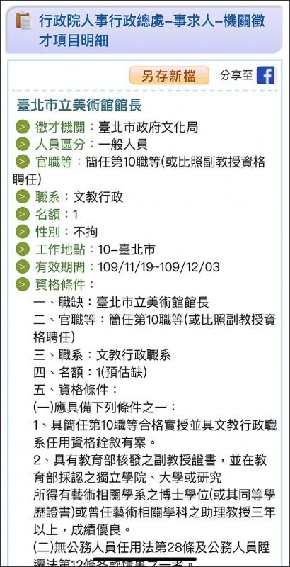 行政院人事行政總處19日刊登台北市文化局正在徵北美館館長職缺。(記者楊心慧翻攝)