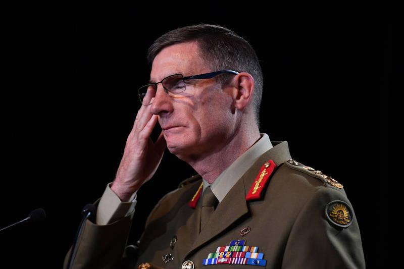 澳洲國防軍司令坎貝爾今天(22日)表示,澳洲國防部隊必須承認這份最新的報告,並承諾將做出改變,避免再犯,圖為坎貝爾。(歐新社)