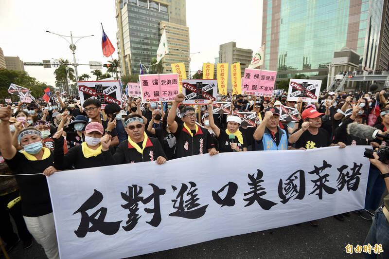 2020年秋鬥遊行22日下午舉行,表達「反萊豬、反關台」等立場。(記者羅沛德攝)