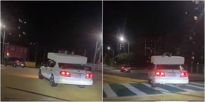 新北淡水21日出現1輛白色小客車,車頂有彈簧床,床墊上有1名男子,警方將對此開罰。(圖取自細說淡水)
