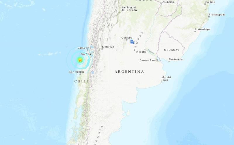 智利中部近海在台灣時間今(22日)上午8點54分發生規模6.2強震。(圖擷自USGS)