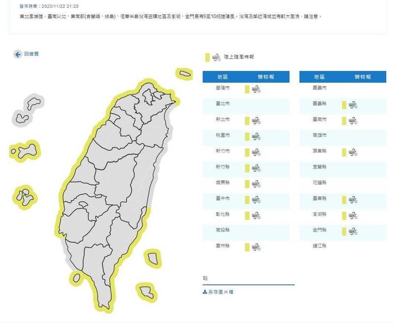 強風特報!台南以北、東南部、恆春半島沿海今晚9至10級強陣風