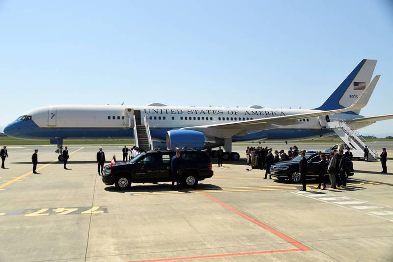白宮國家安全顧問歐布萊恩近日造訪越南搭乘的美國空軍「C-32A」專機。(法新社檔案照)