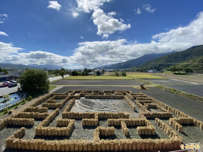 解決農民無處堆置稻草的困擾,關山鎮農會打造稻草迷宮。(記者陳賢義攝)