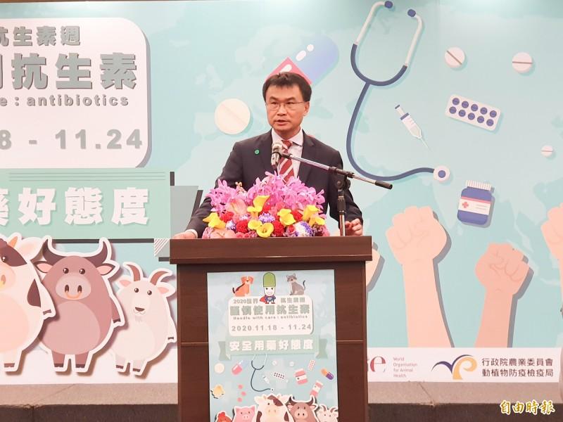 農委會主委陳吉仲今天出席「謹慎使用抗生素,安全用藥好態度」宣示活動。(記者簡惠茹攝)