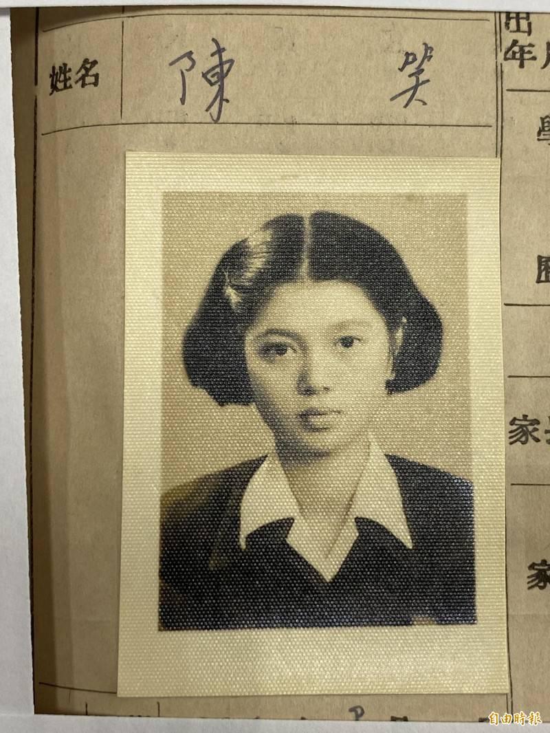 陳淑芳本名陳笑,1952年入學蘭陽女中初中部。(記者蔡昀容攝)