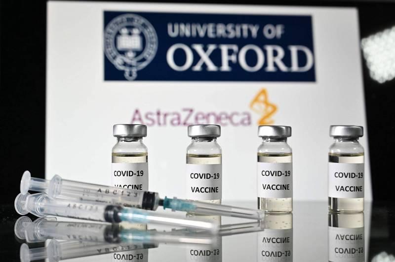 由牛津大學研發的武漢肺炎(新型冠狀病毒病,COVID-19)疫苗,宣布保護率在70%左右。(法新社)