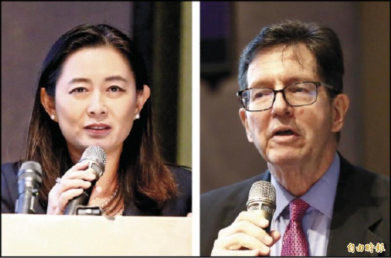 美國維吉尼亞大學教授何漢理(右)、訪問教授林夏如(左)受邀出席台北論壇演講。(記者呂伊萱攝)