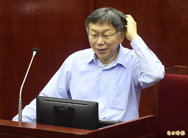 台灣民意基金會民調顯示,對於誰是台灣人最不欣賞的現任六都市長?台北市長柯文哲(見圖)名列第二名。(資料照)