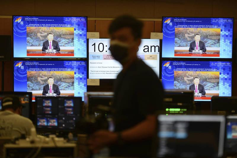 中共總書記習近平在21日透過網路視訊出席二十國集團(G20)高峰會時,希望國際社會參與「中國推廣的國際健康碼」。(美聯社)