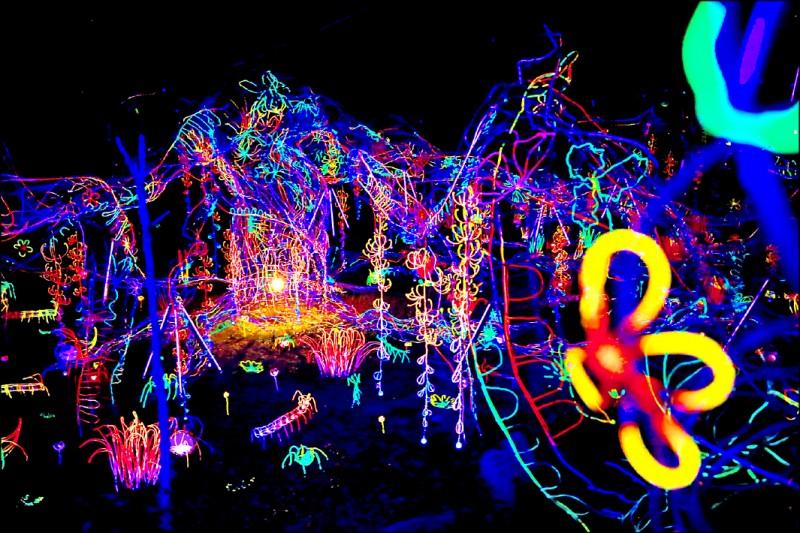 藝術家辛綺創作作品《流光樹林:團聚》,以螢光絢麗的流光樹,組合成巨大的光之森林。(文化局提供)