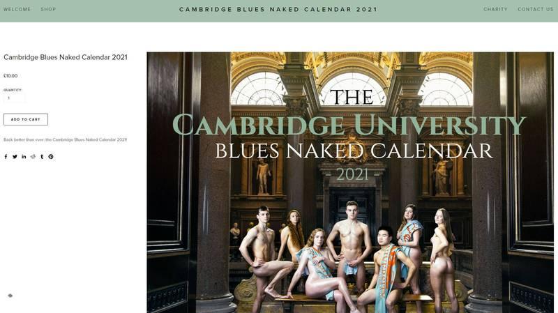 英國劍橋大學學生推出校隊全裸公益年歷,計劃將全所得捐贈給無國界醫師組織。(圖擷取自「CAMBRIDGE BLUES NAKED CALENDAR 2021」網站)