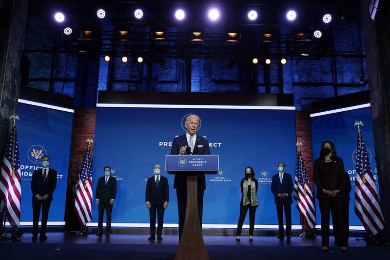美國總統推定當選人拜登24日在家鄉德拉瓦州威明頓(Wilmington)召開記者會介紹外交和國安團隊。