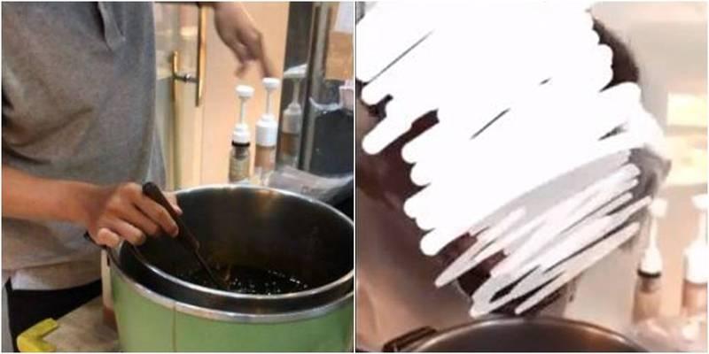 1間知名手搖店的員工近日離職將影片釋出,他將店內珍珠用嘴吸吮後再吐回鍋中。(圖取自爆料公社)