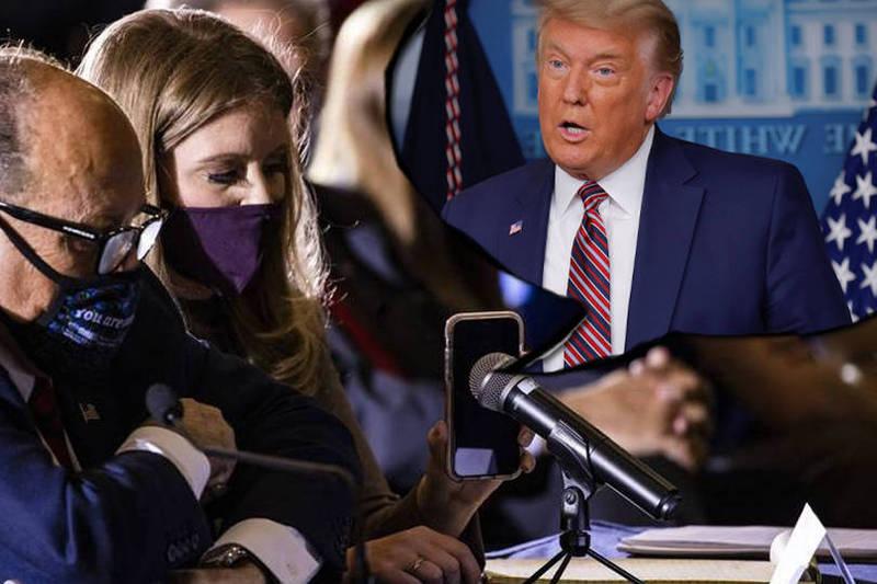 川普美東時間25日在一場共和黨活動上透過電話發表談話。圖為示意圖。(本報合成)