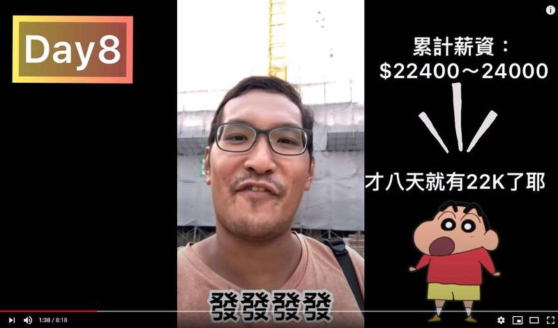 從事板模工作的YouTuber拍片揭露工地薪資傳說,第8天薪水就達到24k。(圖翻攝自YouTube