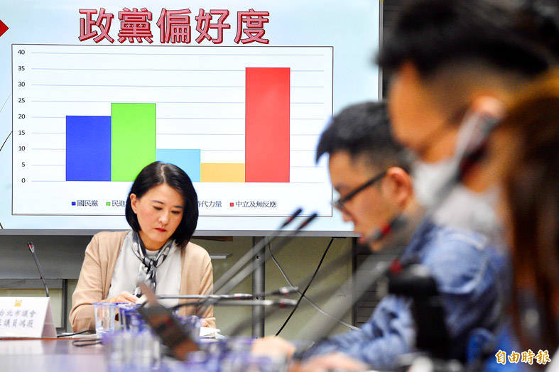 Chinese Nationalist Party (KMT) Taipei City Councilor Wang Hung-wei speaks at a news conference in Taipei yesterday. Photo: George Tsorng, Taipei Times
