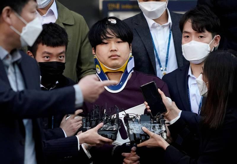 南韓今年初爆發「N號房」事件,74名少女受到性剝削,主嫌之一趙主彬(圖中)涉嫌重大,一審被判處40年徒刑。(路透)